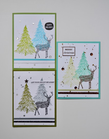 Cross hatch reindeer cards original