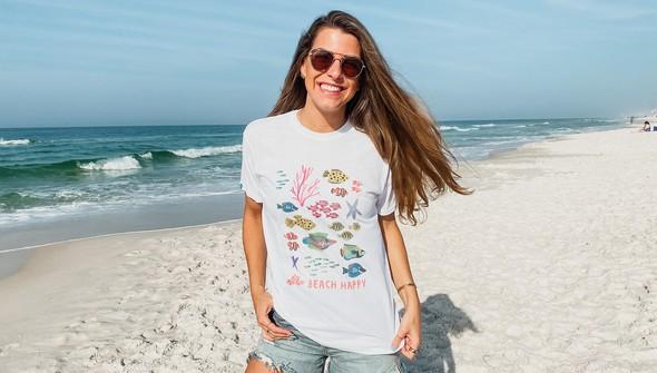 146635 beach happy under the sea short sleeve tee women white slider1 original