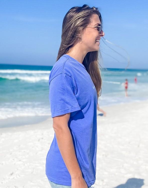 154111 simple beach happy comfort colors short  sleeve tee flo blue women slider 4 original