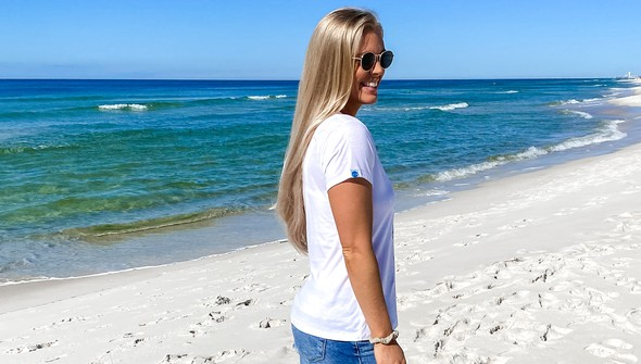 137671 keep our beach happy v neck tee women white slider3 original