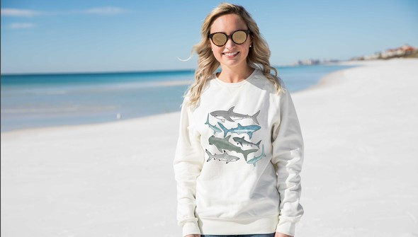 134808 watercolor sharks crewneck sweatshirt women cream slider1 original