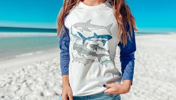 125303 watercolor sharks baseball tee cream navy slider2 original