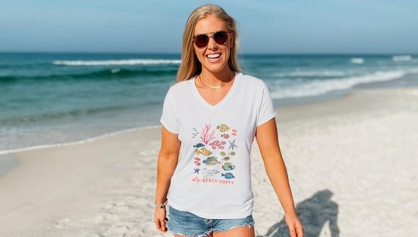 146482 beach happy under the sea v neck tee women white slider1 original