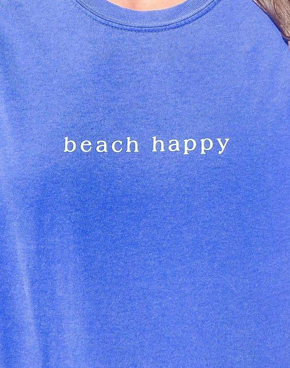 154111 simple beach happy comfort colors short  sleeve tee flo blue women slider 3 original
