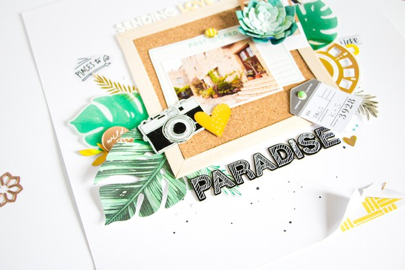 Paradise scatteredconfetti scrapbooking layout spellbinders 4 original