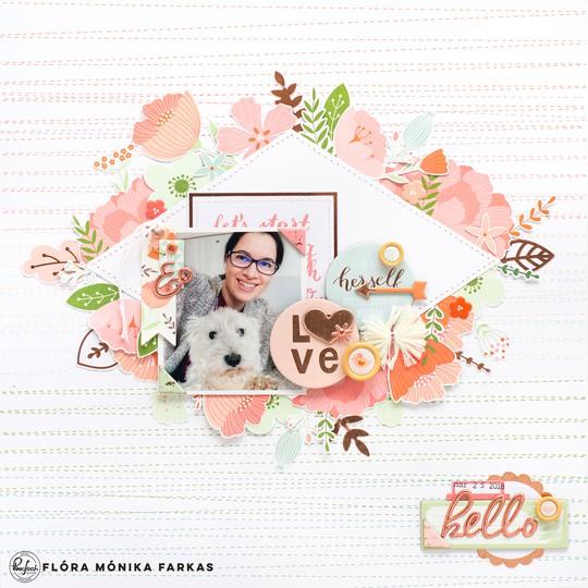 Pinkfresh studio be you scrapbook layout flora farkas original