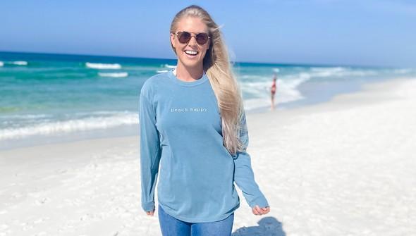 154129 simple beach happy comfort colors long sleeve tee women ice blue slider1 original