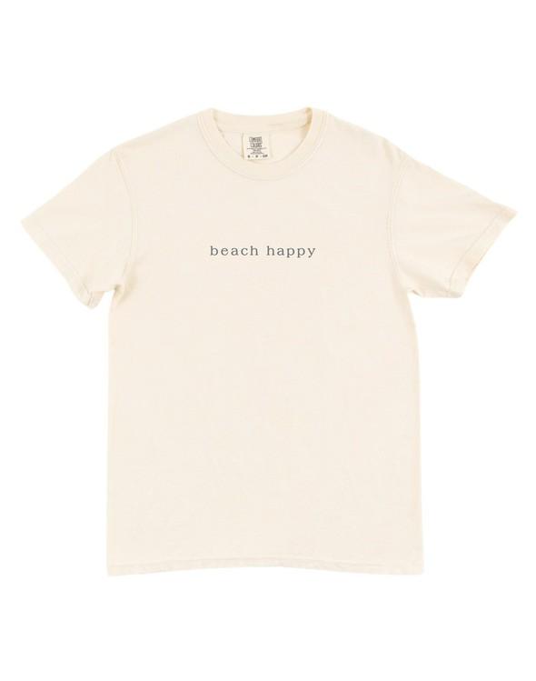 154051 simple beach happy comfort colors short sleeve tee ivory women slider 5 original