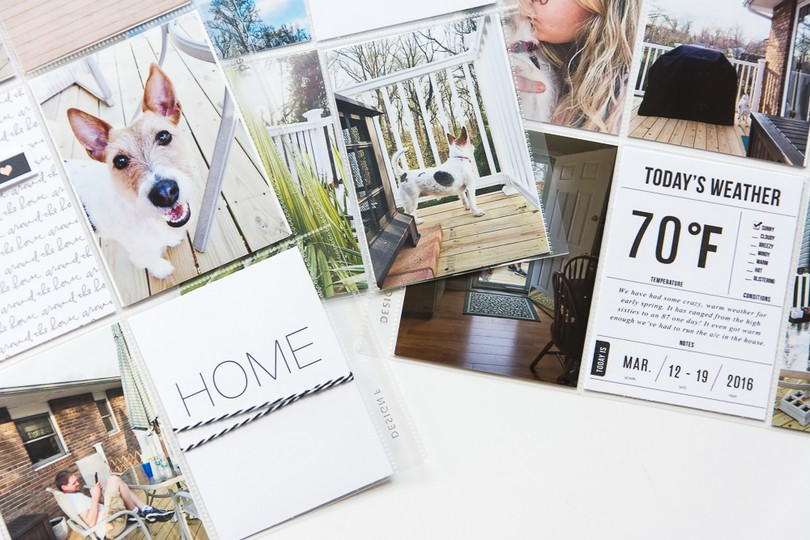 9x12 pocket page scrapbook layout about the magic of staying home using journal cards by paislee press3 original