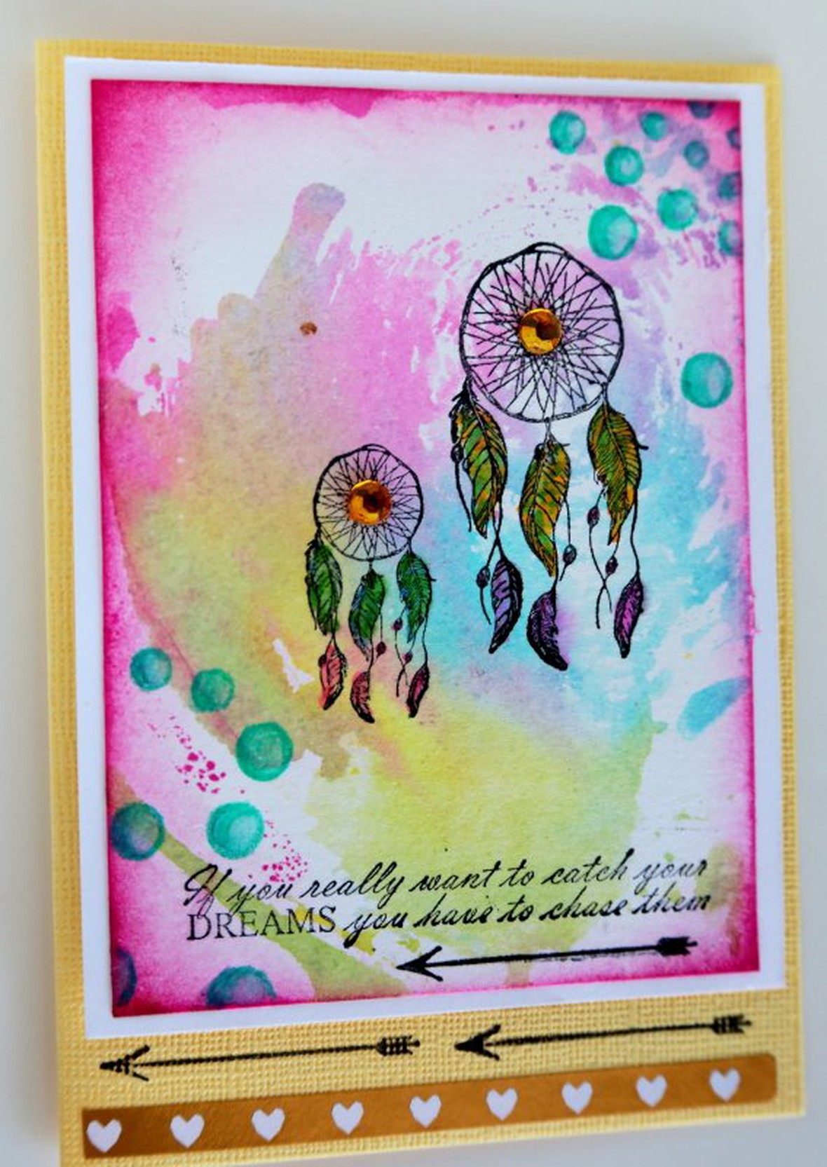Easter card 2 watercolour dreamcatcher card original