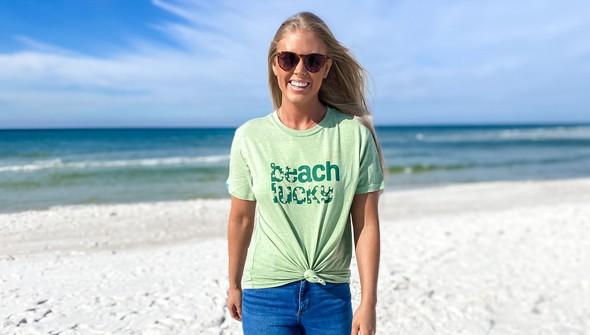 134268 beach lucky short sleeve tee women sea green slider1 original