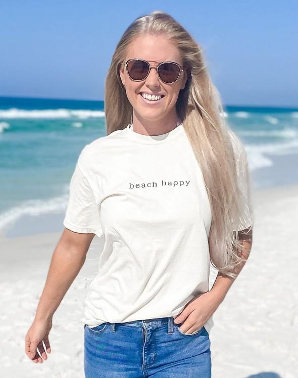 154051 simple beach happy comfort colors short sleeve tee ivory women slider 1 original