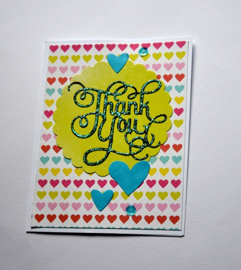 Hearts thank you card original