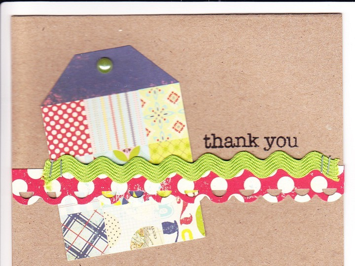 Thankyou card with tag