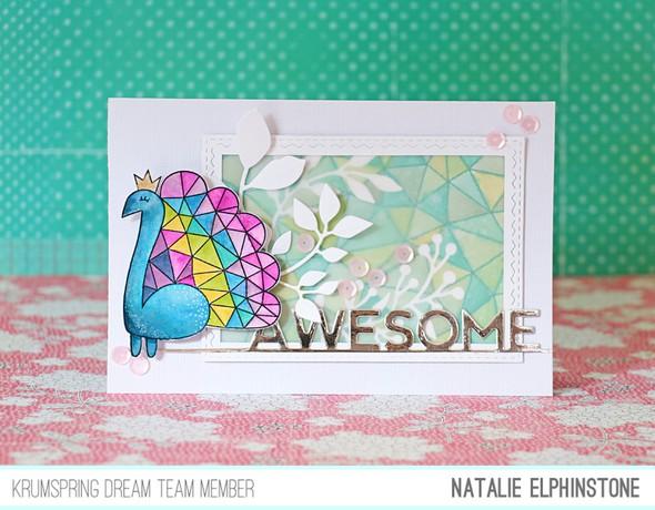 Peacock card by natalie elphinstone original