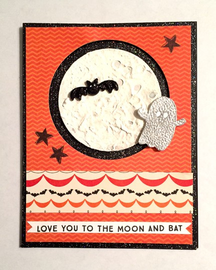Moon and bat interactive card original