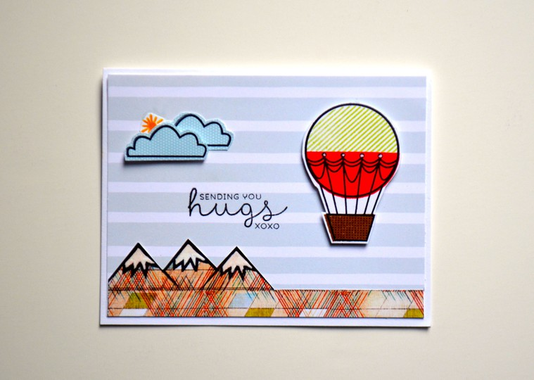Sending hugs hot air balloon card original