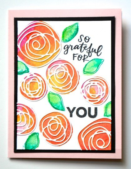 Grateful watercolor stamping card original