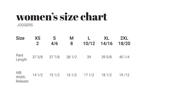 30a sizechart womenjoggers original