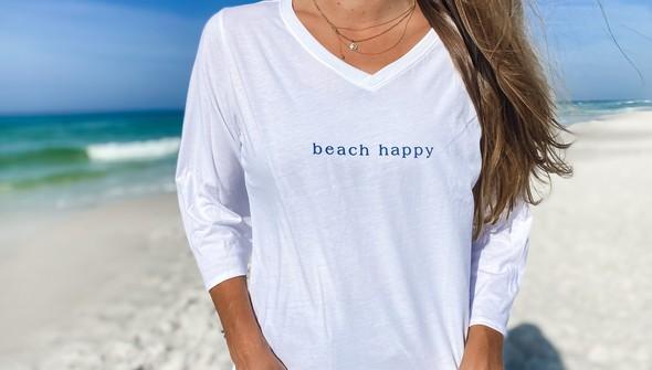 152351 simple beach happyv neck bell sleeve women white slider4 original