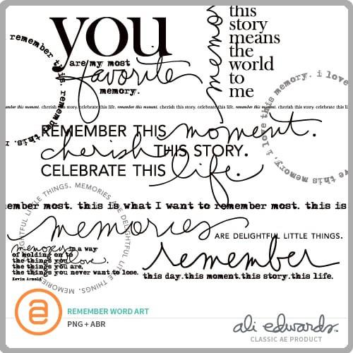 Ali Edwards Design Inc. | Remember Word Art