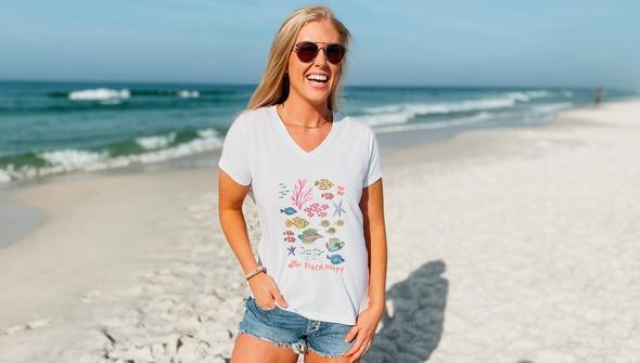 146482 beach happy under the sea v neck tee women white slider2 original