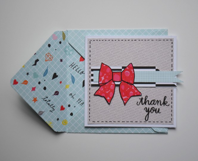 Thank you bow card with envelope original