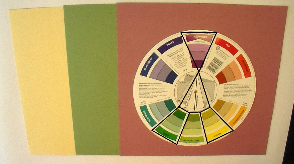 Kit  01.1   split complementary   red violet   green   yellow   with outlines original