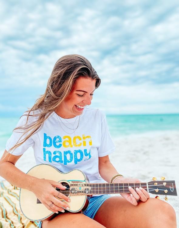 108482 beach happy short sleeve white women slider 2 original