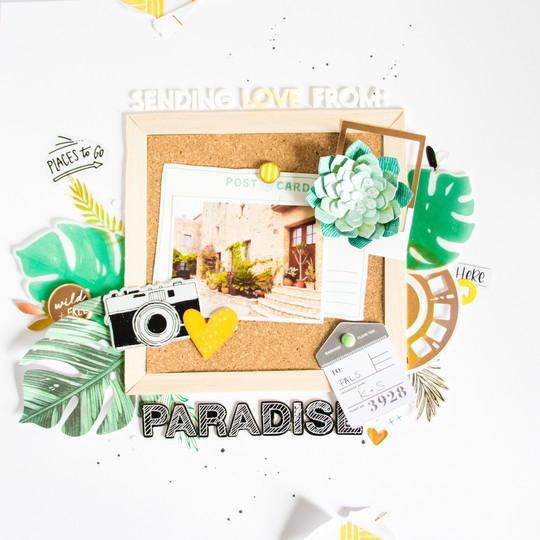 Paradise scatteredconfetti scrapbooking layout spellbinders 1 original