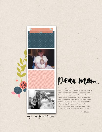 6x8 digital scrapbook layout by mandy of turquoise avenue  using dear mom from paislee press original