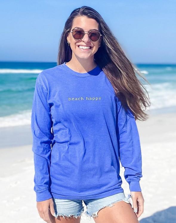 154117 simple beach happy comfort colors long  sleeve tee flo blue women slider 1 original