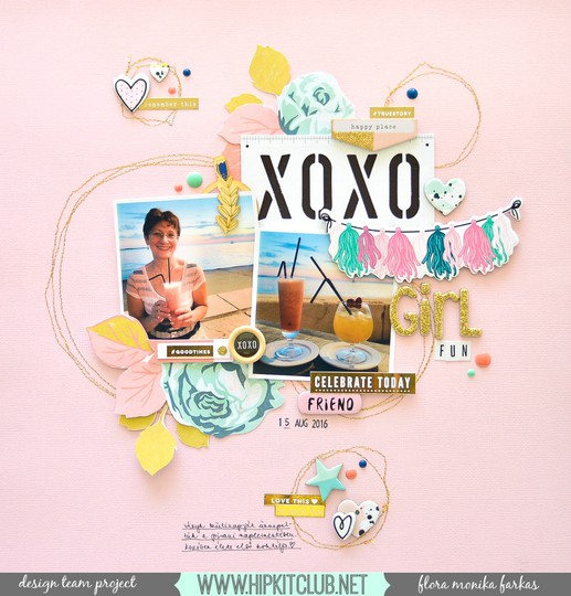 Girl fun scrapbook layout with hip kit  original