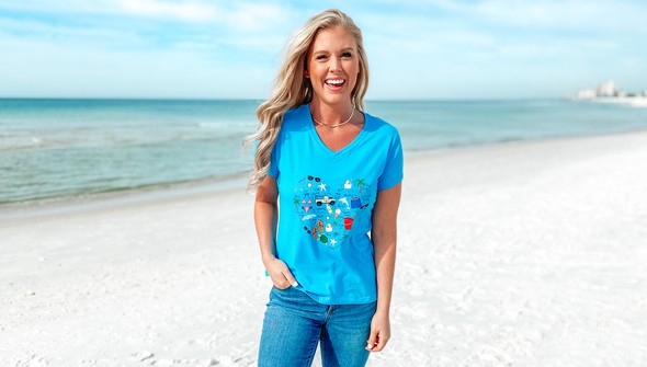 128994 beach love by callie danielle v neck tee women 30a blue slider1 original