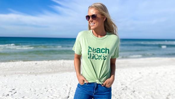 134268 beach lucky short sleeve tee women sea green slider2 original