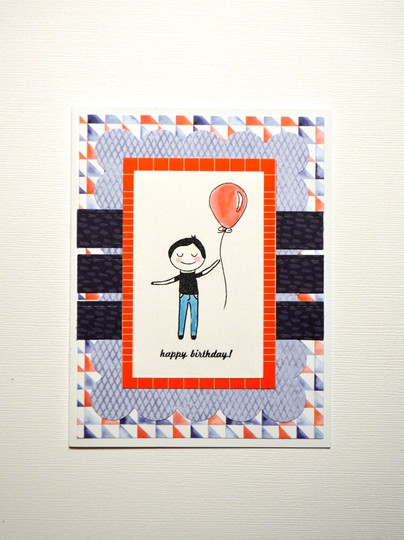 Boy with balloon birthday card original