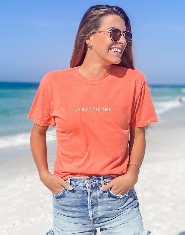 154063 simple beach happy comfort colors short sleeve tee bright salmon women slider 1 original