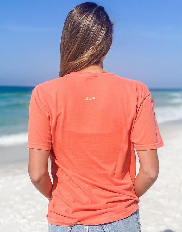 154063 simple beach happy comfort colors short sleeve tee bright salmon women slider 4 original