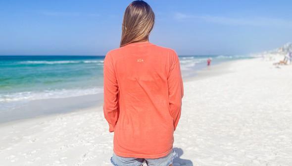154069 simple beach happy comfort colors long sleeve tee women bright salmon slider4 original