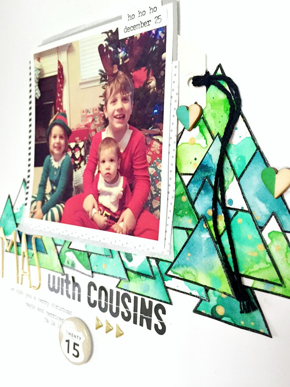Christmas with cousins layout   cu  photo and watercolor original