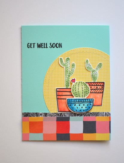 Get well soon cactus card original