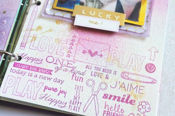 Art journal 5 lucky me closeup stamps