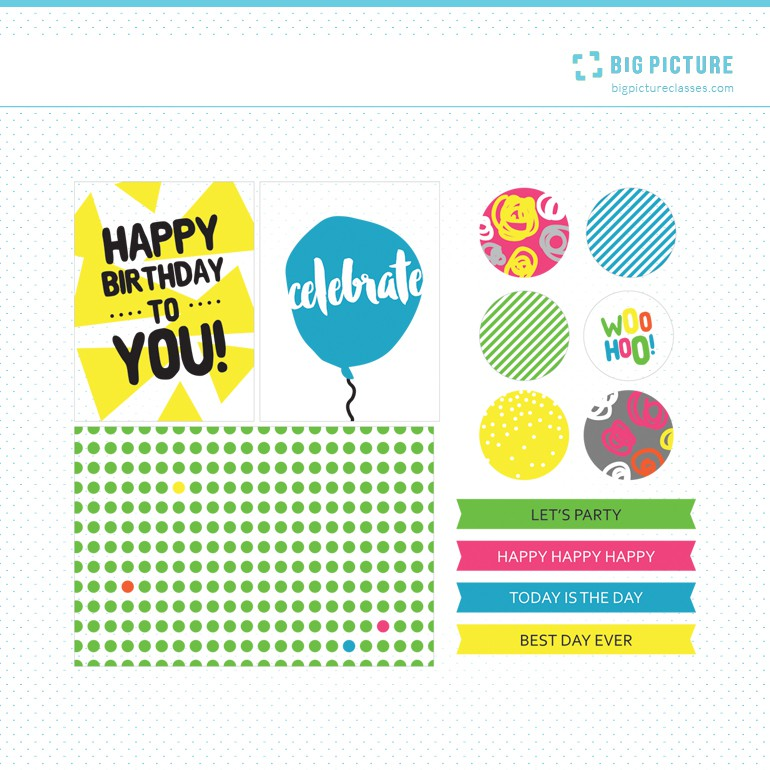 Big Picture Cles   Pocket Birthday Printable Journaling Cards and