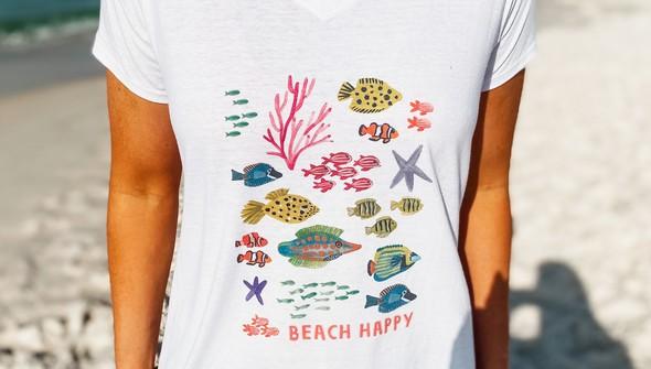 146482 beach happy under the sea v neck tee women white slider3 original