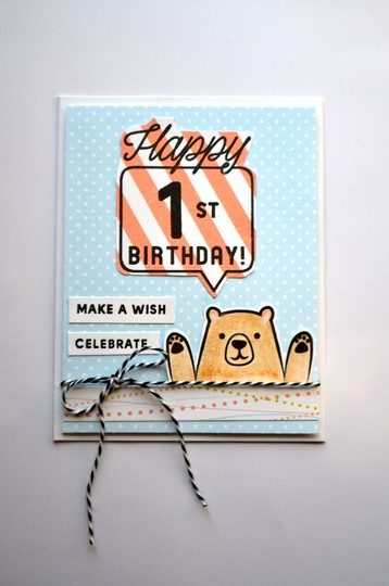 1st birthday bear card original