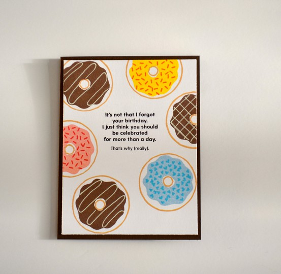 Belated donut birthday card original