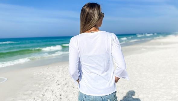 152351 simple beach happyv neck bell sleeve women white slider6 original