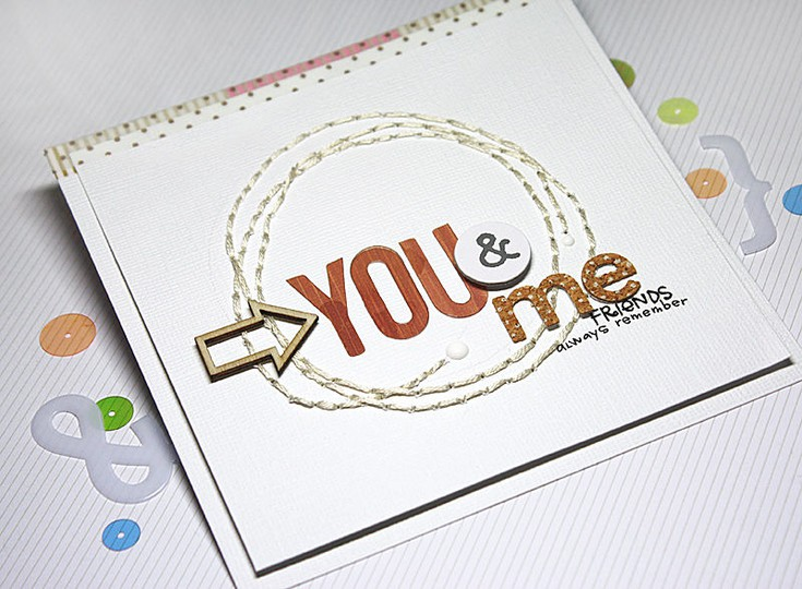 You me card stitched