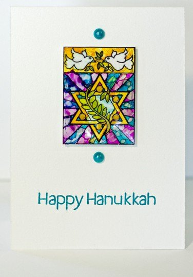 Happy hanukkah stained glass