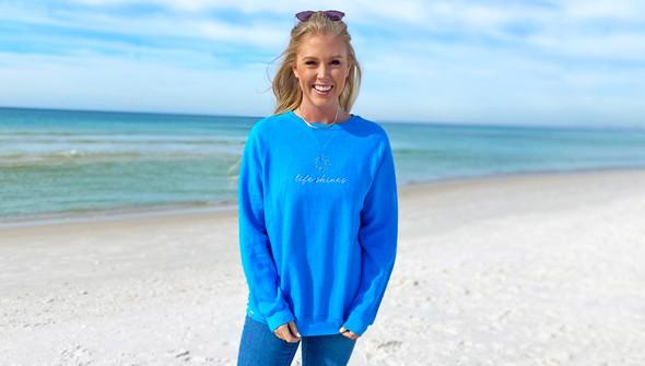 129402 life shines embroidered crew sweatshirt   women   30a blue slider1 original